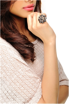 Black Diamond Floral Ring
