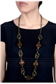 Caramel Glass Drops Chain Necklace
