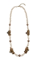 Soul Searcher Topaz Pearl Gold Link Long Necklace