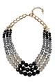 Black & Grey Layered Crystal Necklace