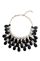 Black Crystal Drop Pearl Necklace