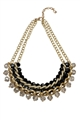 Necklace with Black Beads on Gold chains