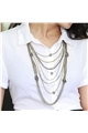 Metallic Multi-Layered Chains Knot Necklace